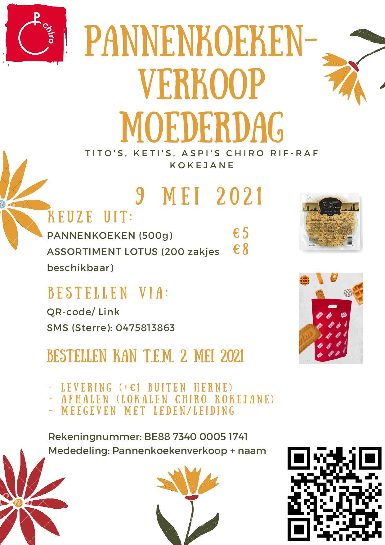 Brugse pannenkoeken en Lotus koekenpakketten verkoop voor Moederdag